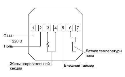 Подключение терморегулятора к теплому полу схема