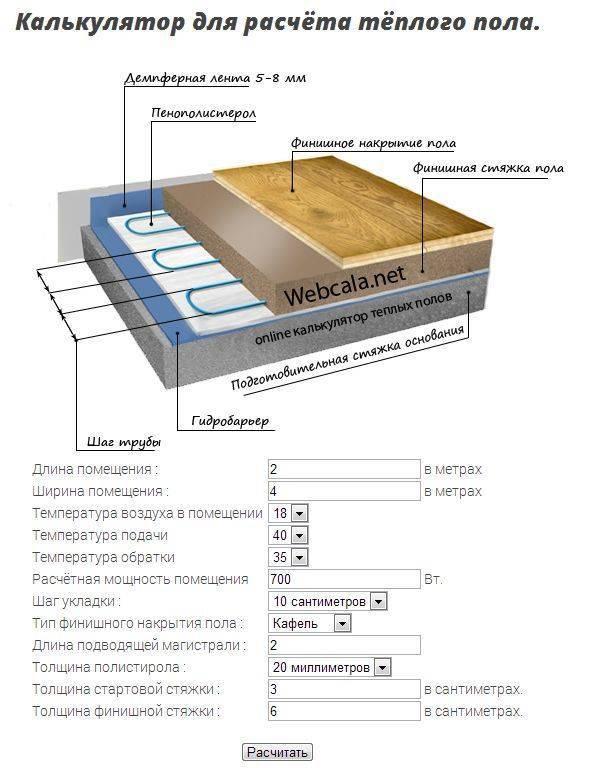 Как рассчитать водяной теплый пол: расчет мощности на примерах фото и видео