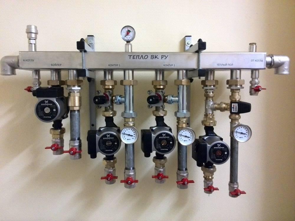 Коллектор отопления в котельной, коллекторная группа теплого пола