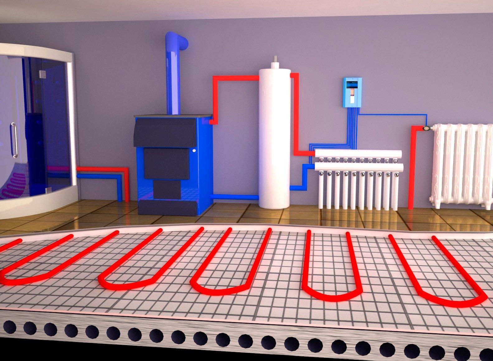 Системы отопления частного дома — фото, чертежи и схемы