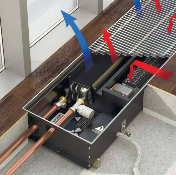 Напольные конвекторы: типы, принцип работы, установка встраиваемых в пол