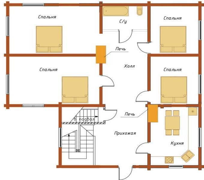 Проект дома с печным отоплением - система отопления
