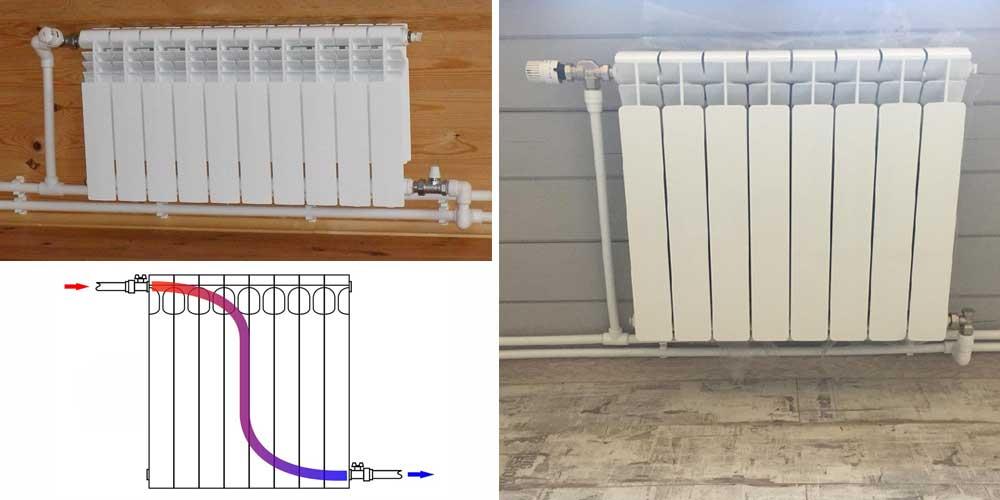 Установка биметаллических батарей отопления: подключение, схема, сборка и видео
