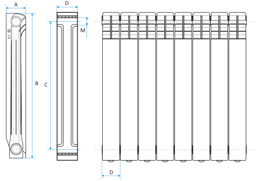 Размеры радиаторов отопления: алюминиевых, биметаллических и других