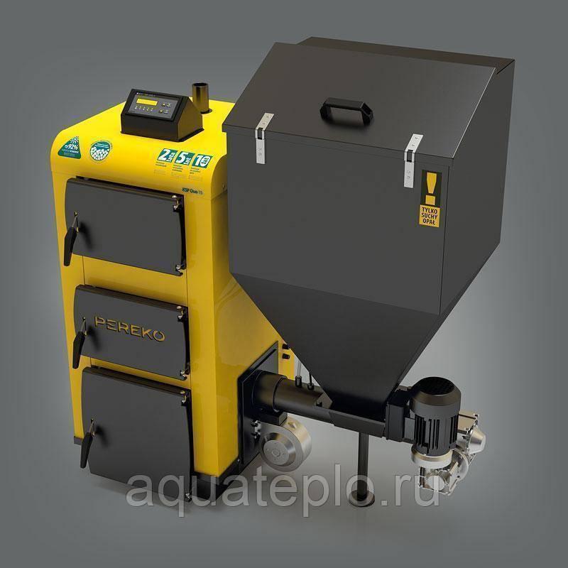 Автоматический пеллетный котел с подачей топлива, бункером и самоочисткой