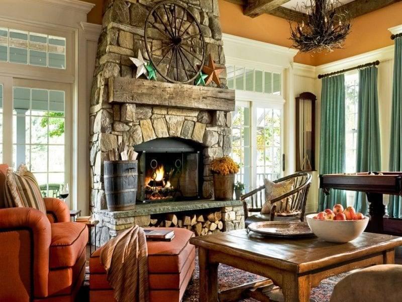 Интерьер гостиной с камином в частном доме (72 фото): дизайн каминного зала в деревянном загородном доме, установка камина в центре и другие варианты