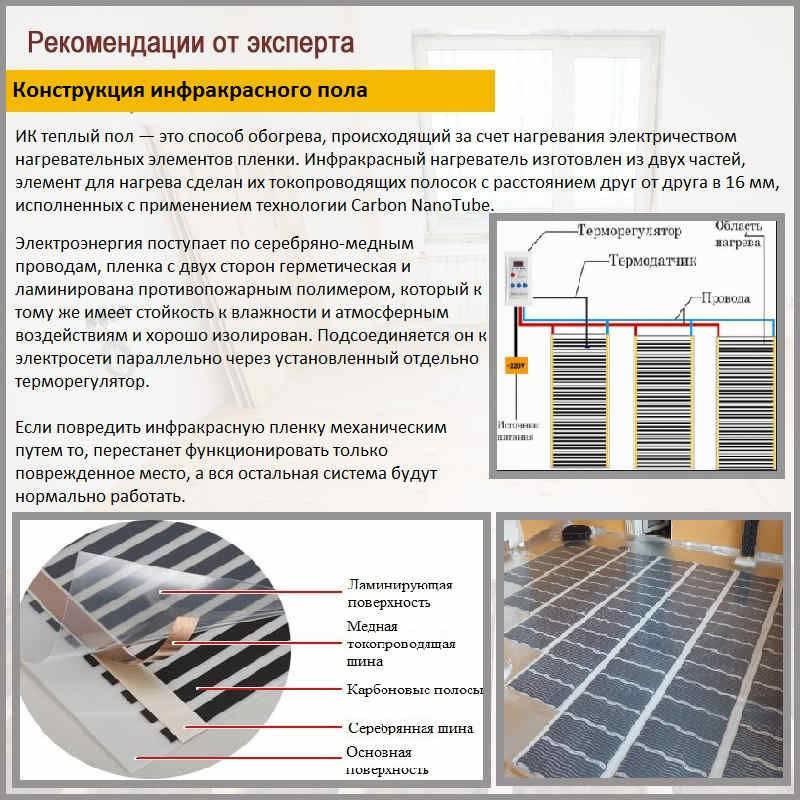 Устройство теплого пола под плитку, какой выбрать: пленочный или ик, водяной, как рассчитать толщину покрытия, правила монтажа