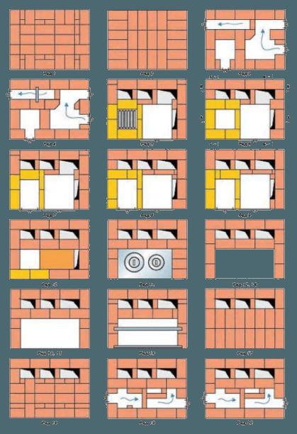 Печь-шведка с духовкой и плитой своими руками: порядовка, кладка, схема, фото отопительно-варочной кирпичной печи с камином 3 на 5