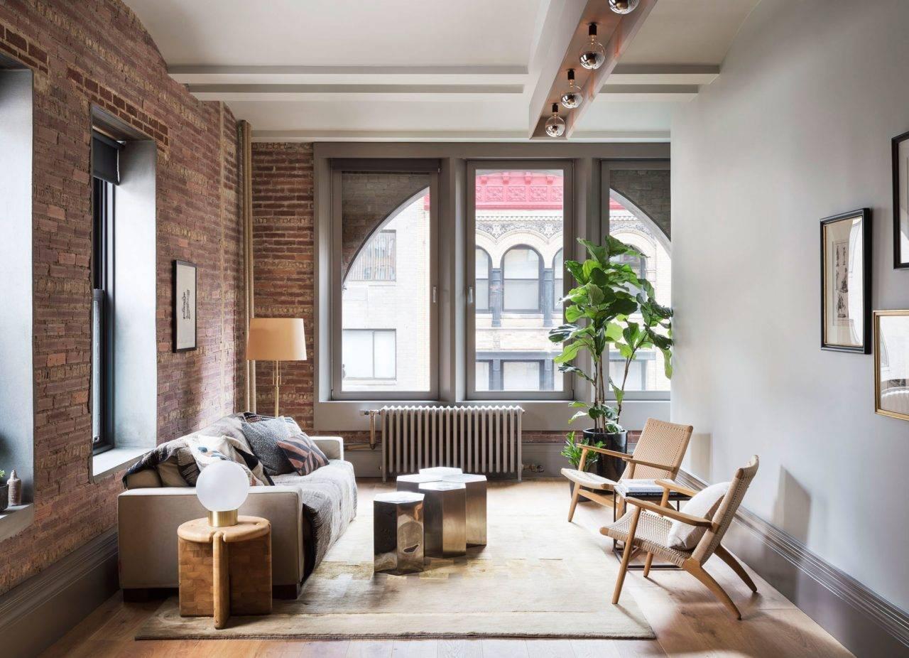 Гостиная в стиле лофт: индустриальный дизайн гостиной комнаты