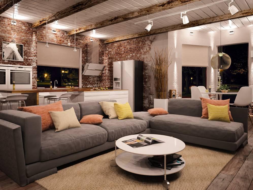 Гостиная в стиле лофт - 99 фото новинок современного дизайна