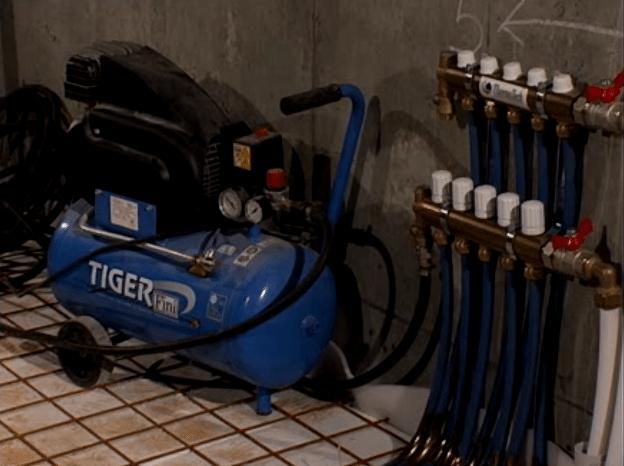 Проверка системы водяной теплый пол. опрессовка