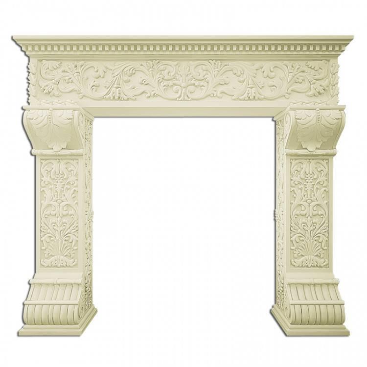 Декоративный камин из гипса с подиумом-фальш камин