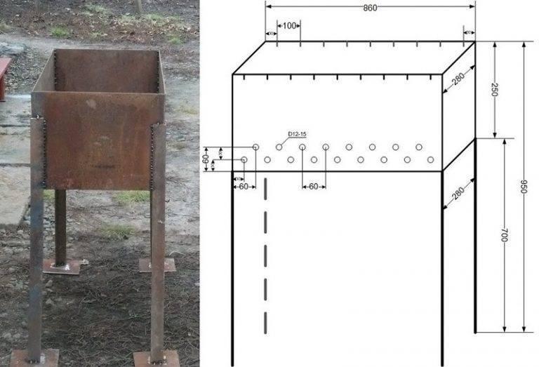 Мангал своими руками из металла: фото и пошаговые инструкции