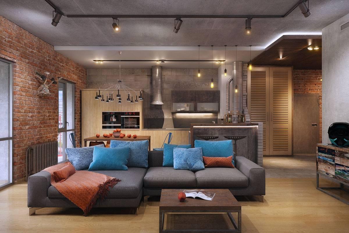 Гостиная в стиле лофт: оформление комнаты в квартире, фото интерьера