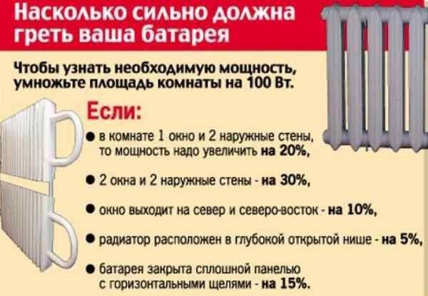 Расчёт количества секций радиатора отопления - формулы и рекомендации снип