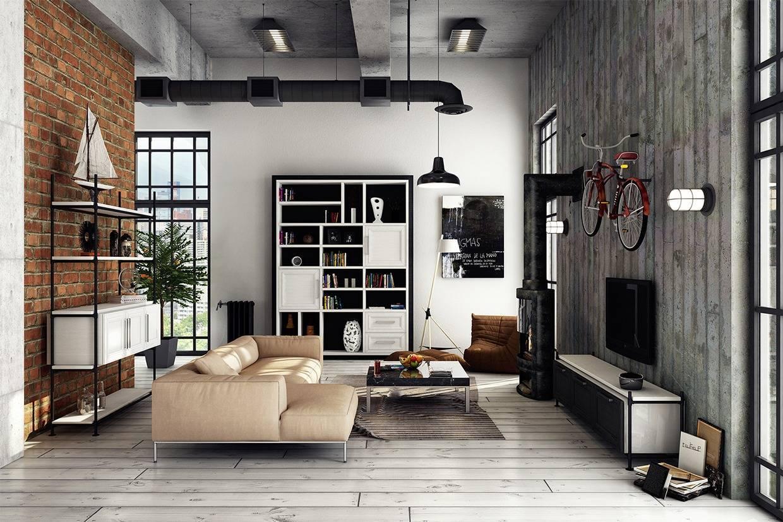 Интерьер гостиной в стиле лофт - особенности, практичные советы, фото коллекция