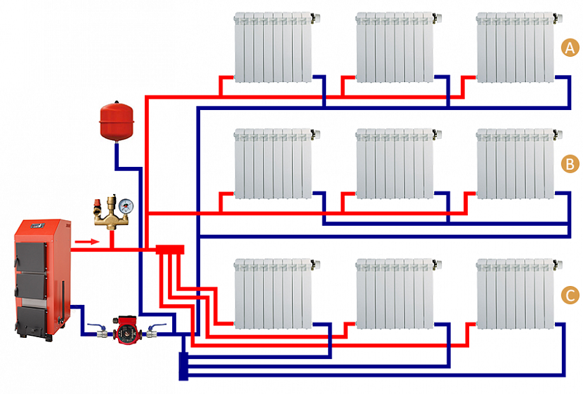 Двухтрубная система отопления с нижней разводкой: устройство