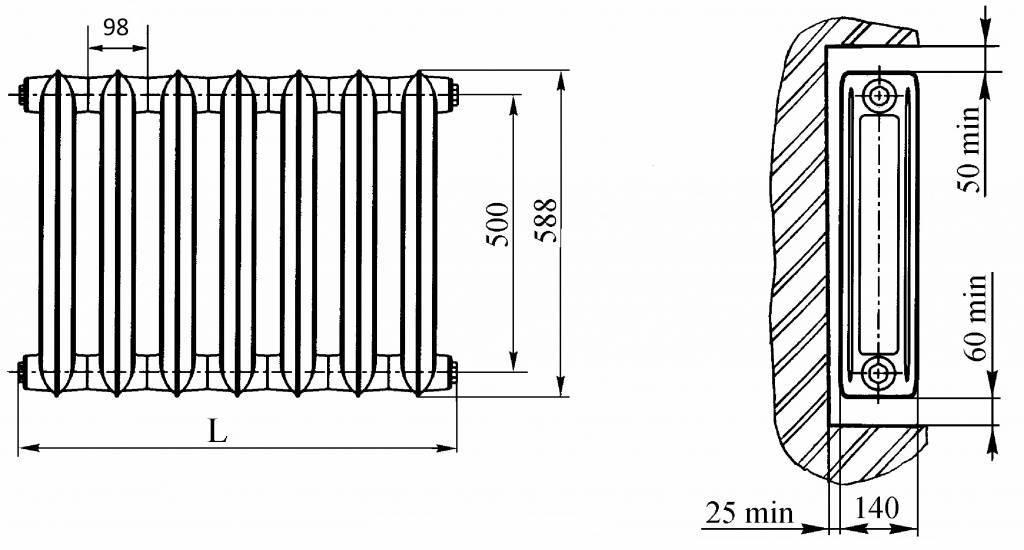 Современные чугунные радиаторы нового образца, обзор популярных моделей, плюсы и минусы чугунных батарей