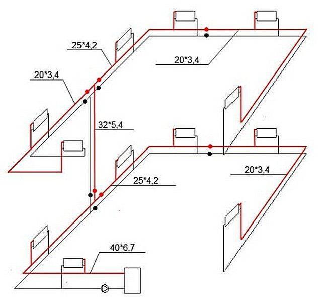 Система отопления одноэтажного частного дома