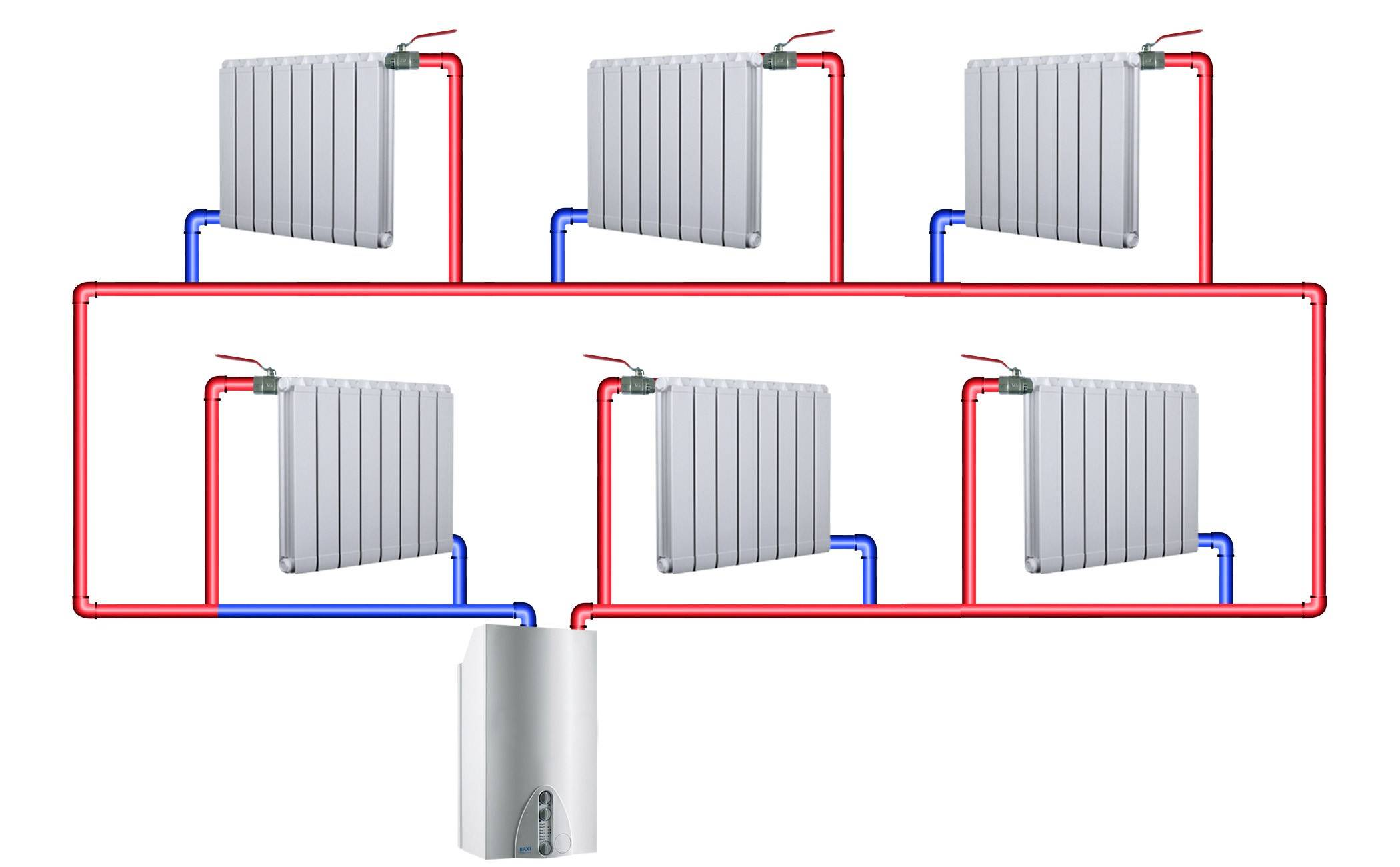 Схемы и чертеж подключения самодельных регистров отопления