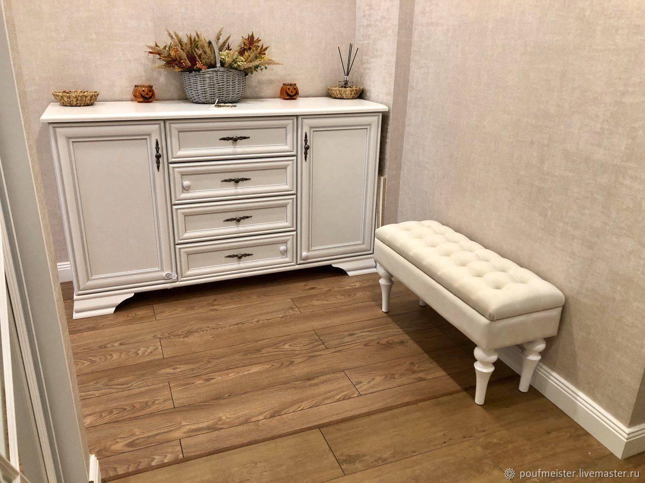 Какой лучше выбрать пуфик в прихожую - виды, материалы и формы предмета мебели ?
