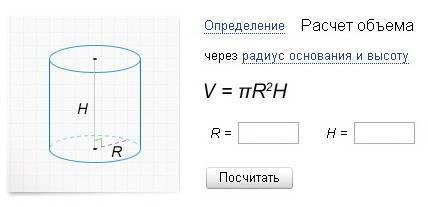 Как рассчитать объем емкости, цилиндрического резервуара? формула расчета.
