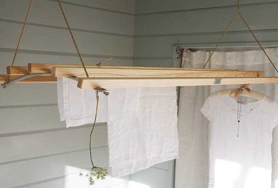 Как сделать напольную или потолочную сушилку для белья из дерева своими руками