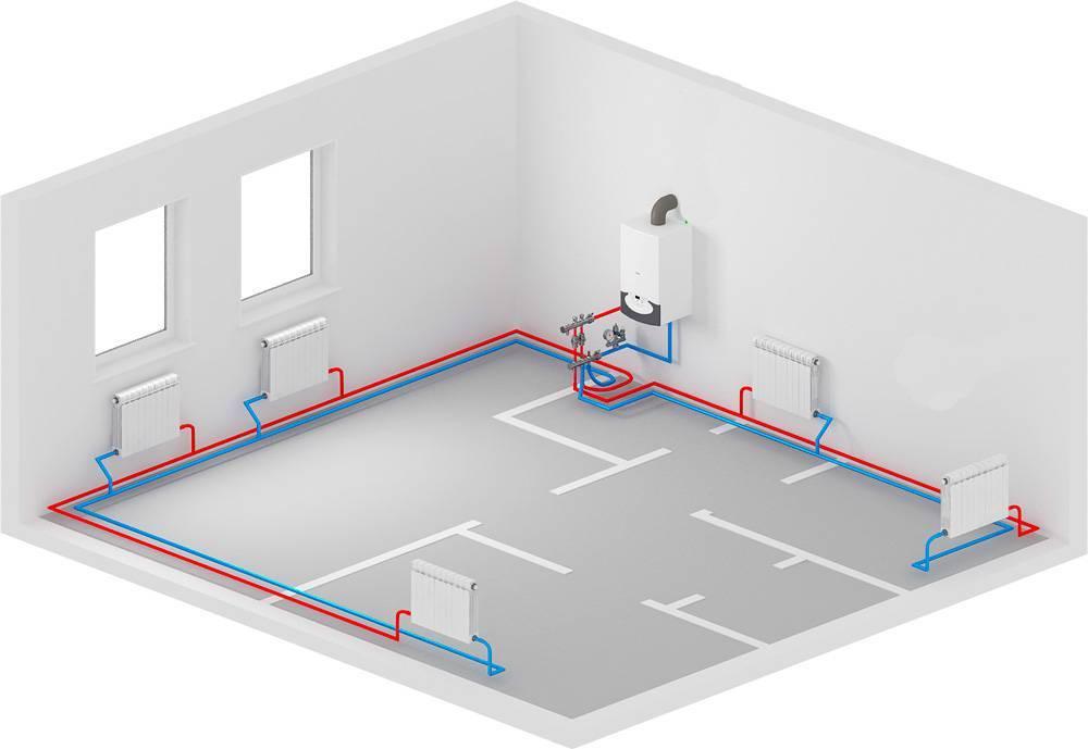 Схема однотрубной системы отопления с нижней разводкой, способы монтажа