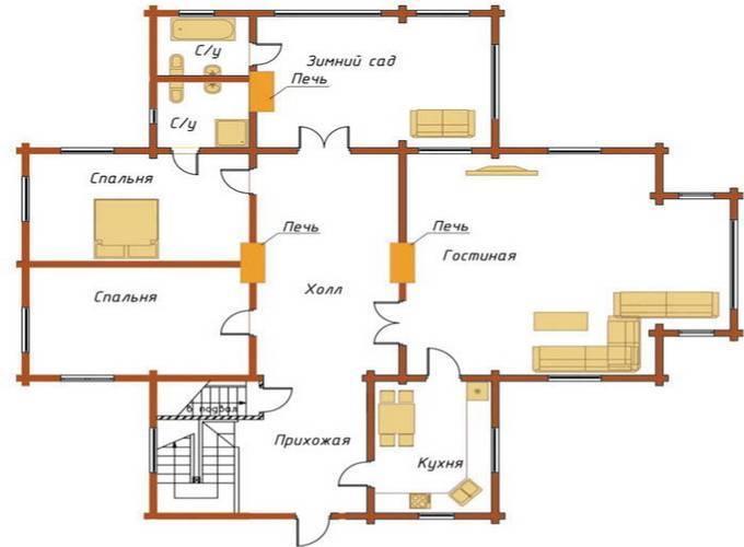 Русский стиль: планировка дома размером 6x6 м с печкой