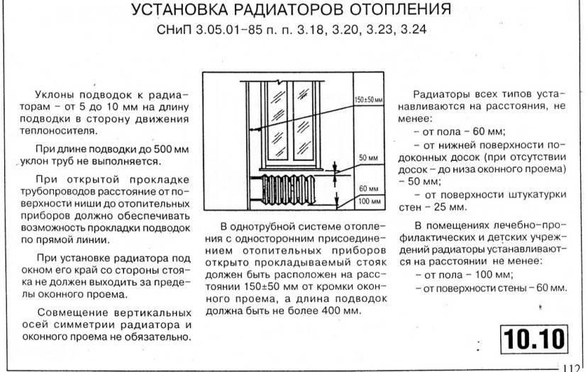 Снип по установке радиаторов отопления в квартире. правила установки радиаторов отопления, снип, монтаж и размещение