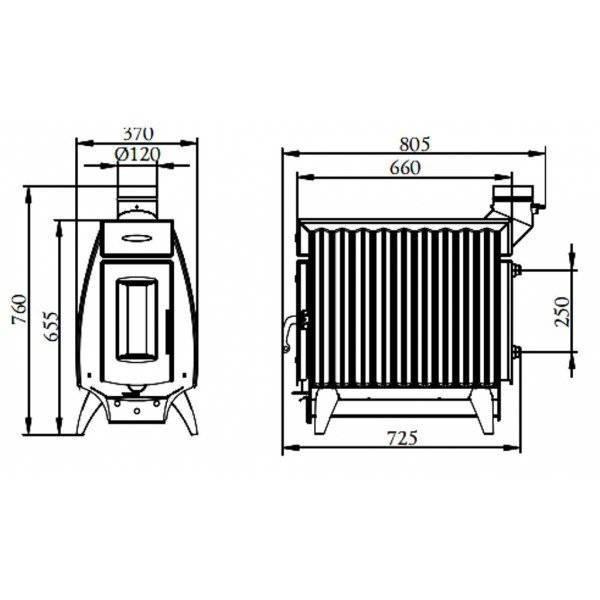 Термофор огонь батарея 5 отопительно-варочная антрацит