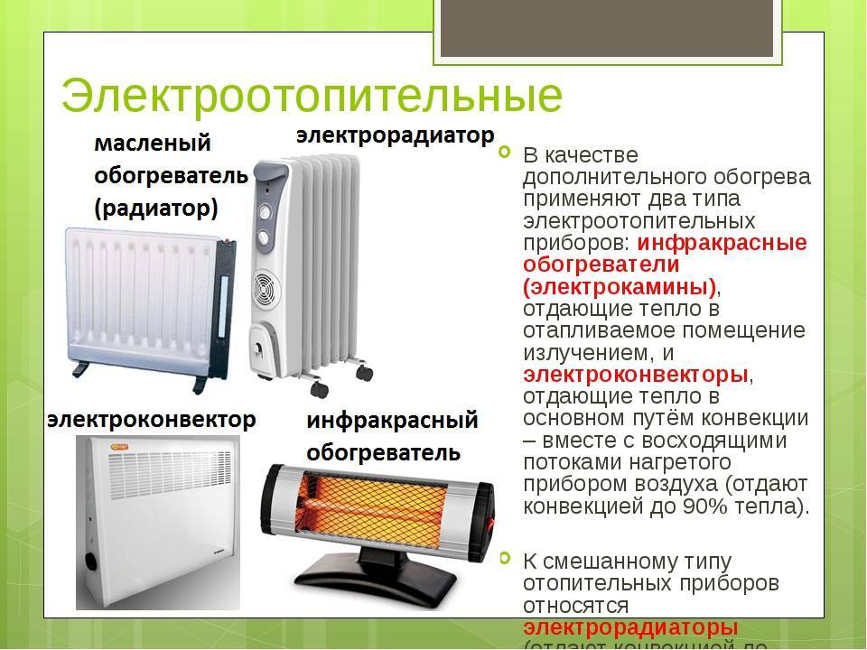 Отопительные приборы: виды, типы современных бытовых устройств, выбор, классификация