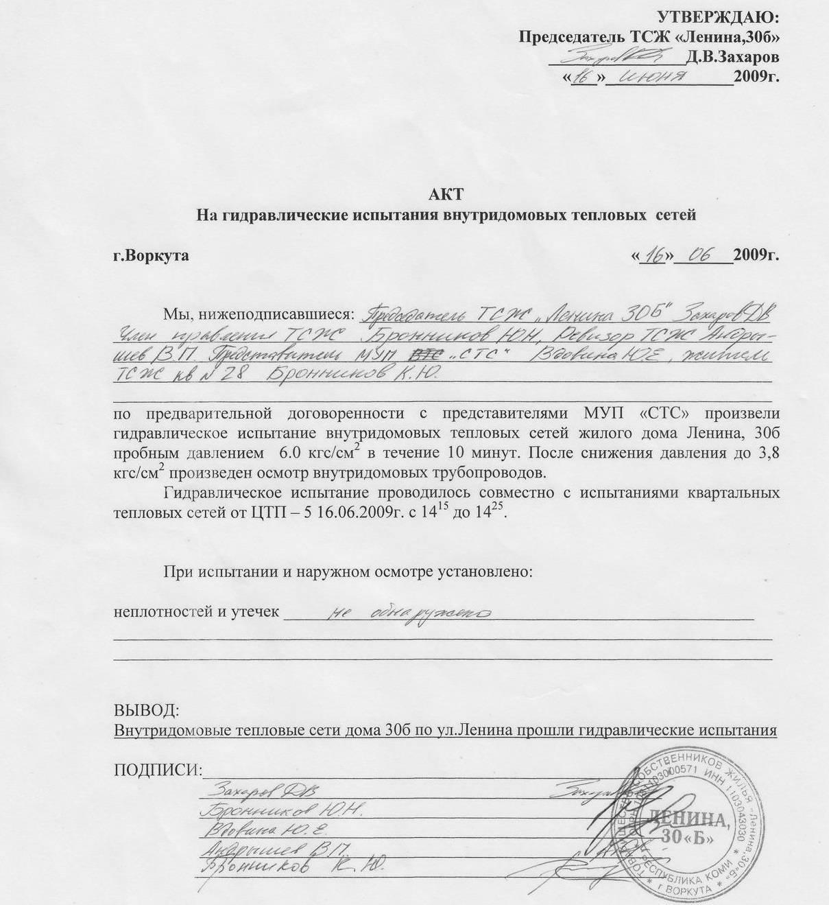 Формы актов для исполнительной документации