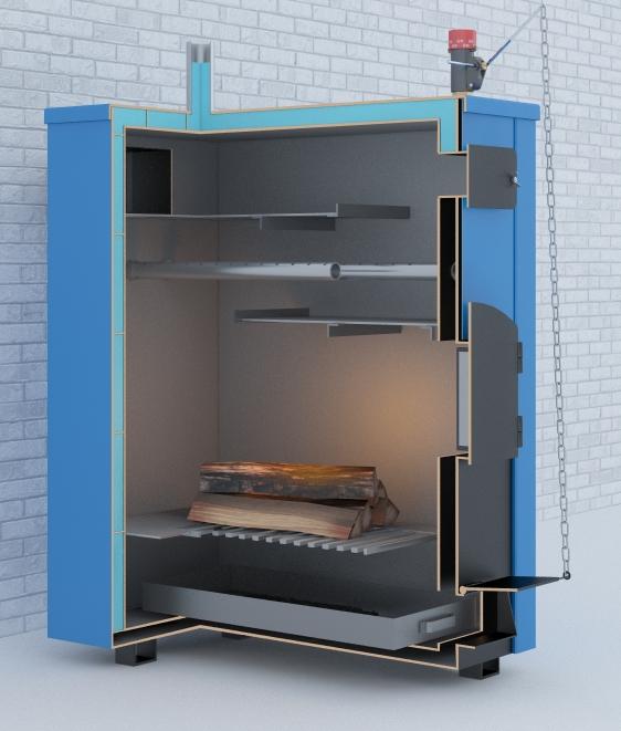 Двухконтурный твердотопливный котел длительного горения для отопления частного дома