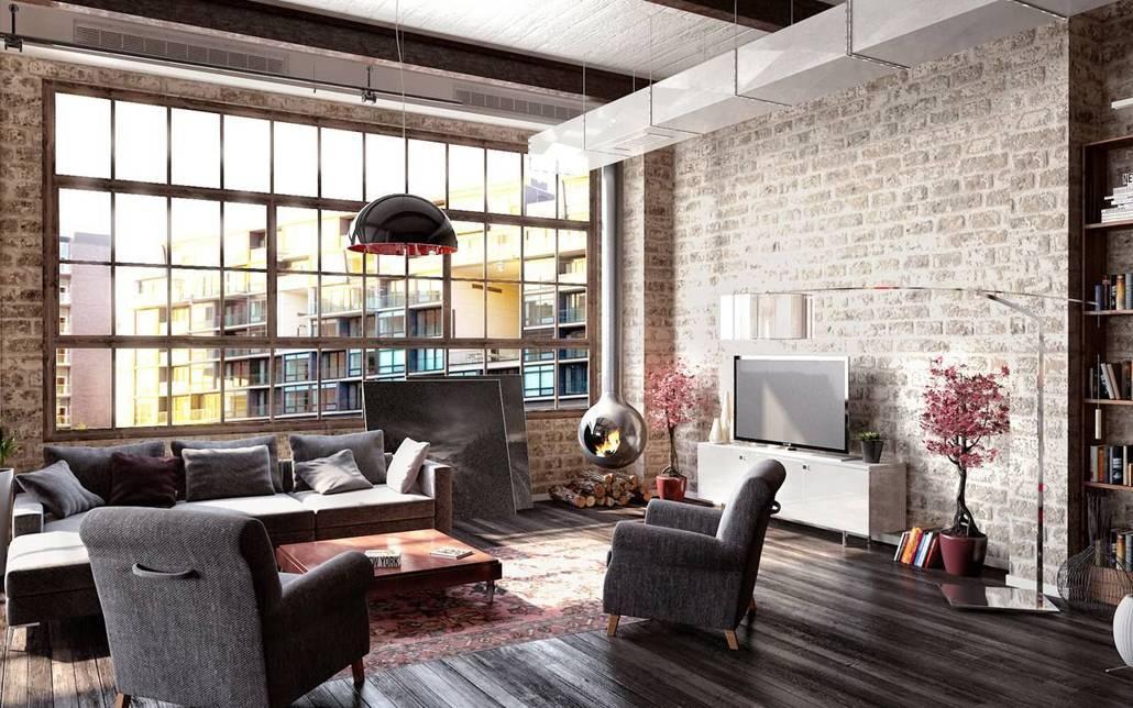 Гостиная в стиле лофт: 38 фото + видео дизайна гостиной комнаты