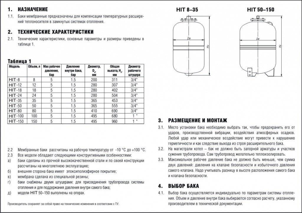 Порядок расчетов для расширительного бака отопления