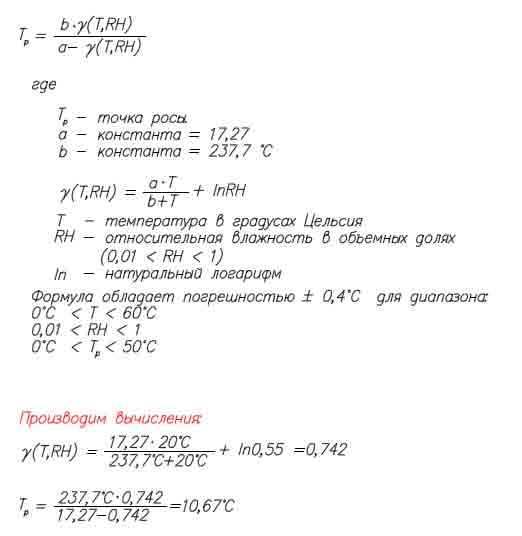 Калькулятор расчета точки росы онлайн