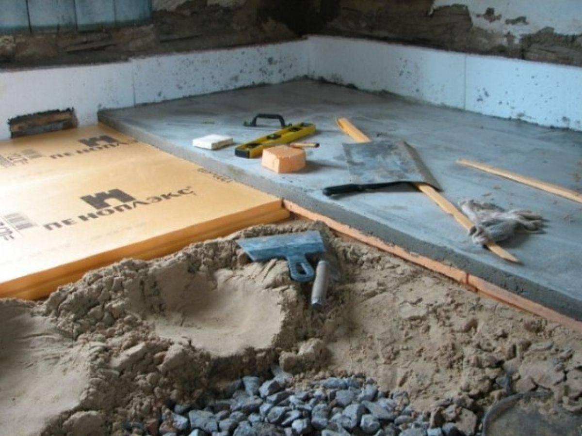 Утепление бетонного пола пеноплексом без стяжки