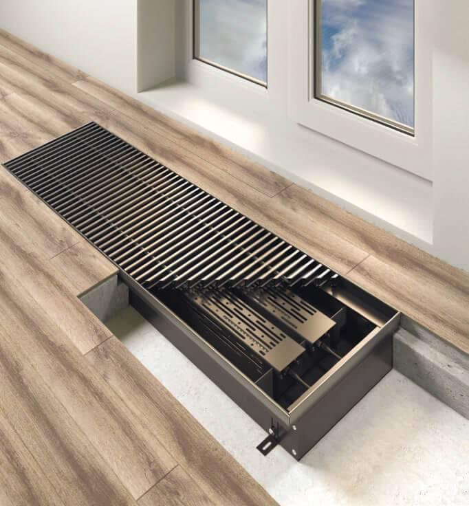 Водяные внутрипольные конвекторы отопления: виды, особенности монтажа и обустройства