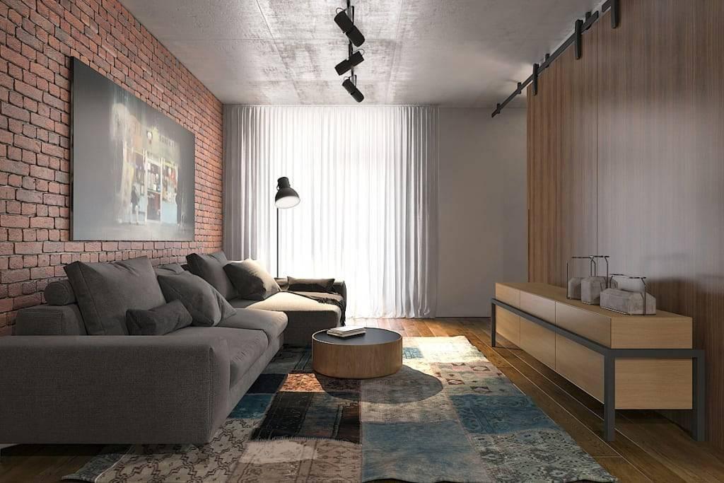 Гостиная в стиле лофт: 70 фото-идей