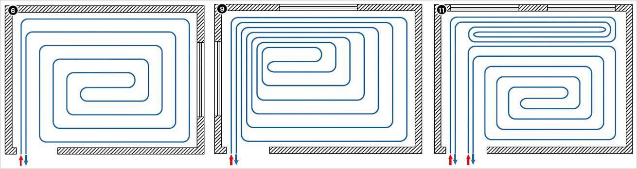 Монтажные схемы укладки теплого водяного пола и схемы разводок