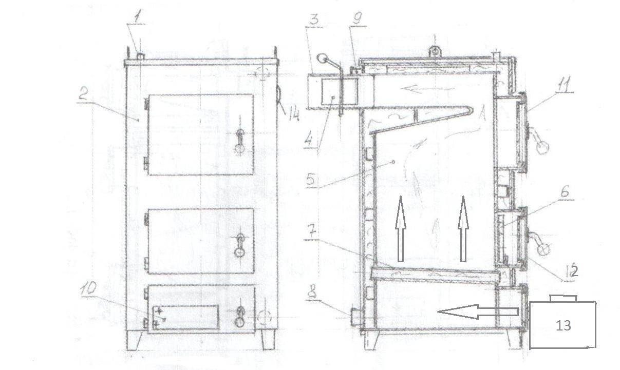 Твердотопливный котел длительного горения своими руками на дровах и угле: чертежи и схемы