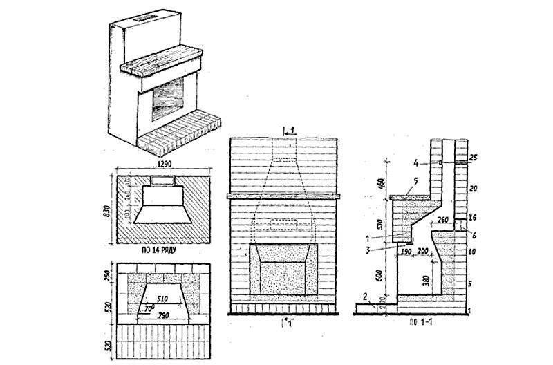 Простой камин из кирпича своими руками: схема, порядовки, пошаговая инструкция