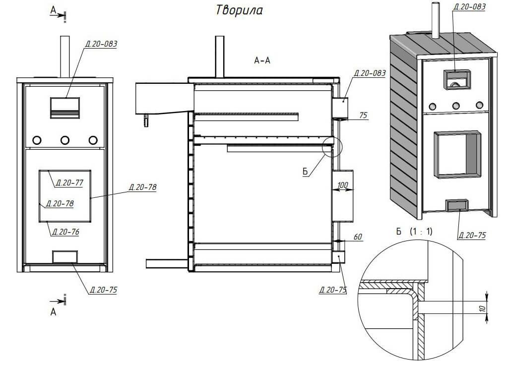 Печь длительного горения для гаража - чертежи и пошаговые инструкции!