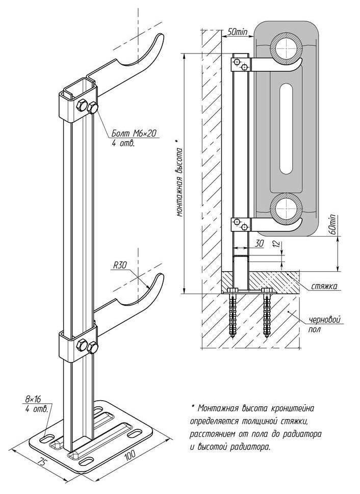 Как правильно повесить радиатор отопления на кронштейн