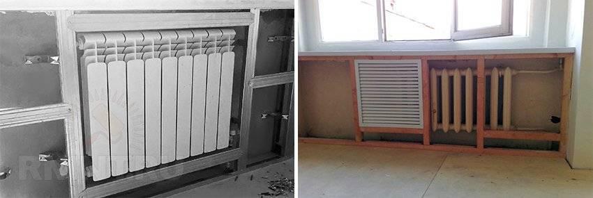 Как закрыть батареи отопления и трубы гипсокартоном в зале фото